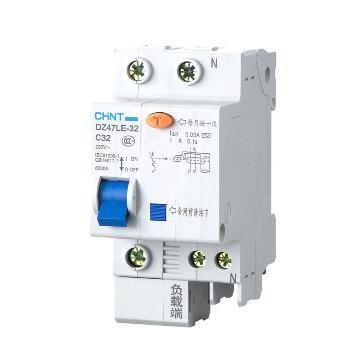正泰 微型漏电保护断路器,DZ47LE-63 1P+N D60 30mA
