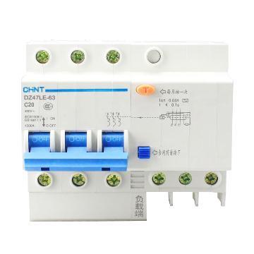 正泰 微型漏电保护断路器,DZ47LE-63 3P D50 30mA