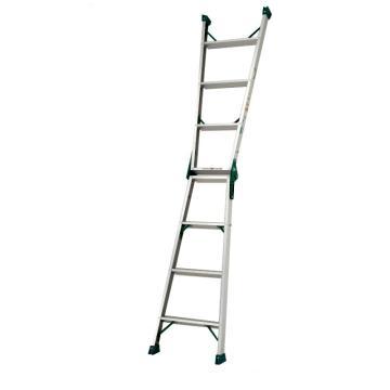 两用梯,(人字梯兼用直梯)(双侧宽幅踏步60mm)梯全长:1.73m 缩长:0.81m 重量:3.7kg