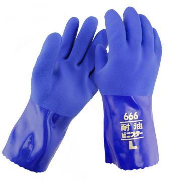 TOWA 666-M PVC手套,蓝色,26cm,120副/箱