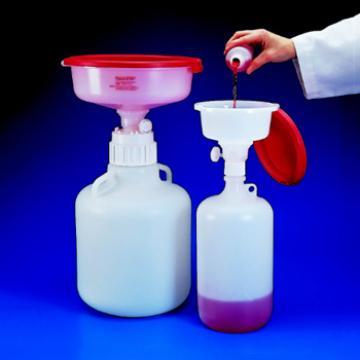 NALGENE安全废液系统,聚丙烯安全废液漏斗和高密度聚乙烯或氟化高密度聚乙烯废液容器,聚丙烯盖和漏斗接头,聚丙烯和PTFE通气滤膜,NALGENE盖尺寸38-430