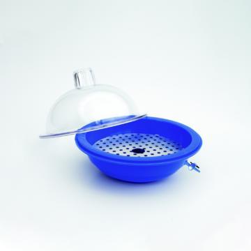 干燥器,250mm聚碳酸酯盖,蓝色聚丙烯主体,Teflon*TFE塞子和活塞
