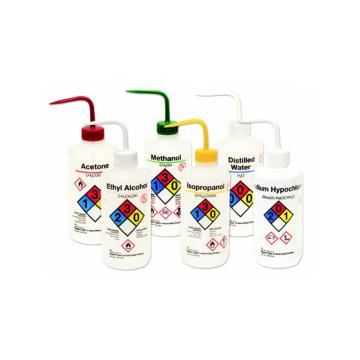 易认安全洗瓶,LDPE,白色LDPE或PPCO瓶体,500ml容量,丙酮,红色瓶盖