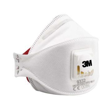 9332 FFP3折叠式防护口罩,带阀,10个/盒
