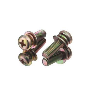 88必发/EHSY 4.8级十字槽盘头三组合螺丝,彩锌,M6*18,500个/包