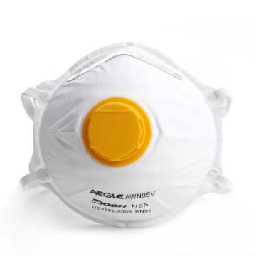 羿科N95头戴式碗型带阀口罩,10只/盒,60403224