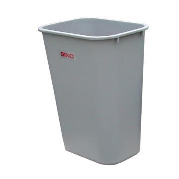 办公垃圾桶,方形 27L,浅灰