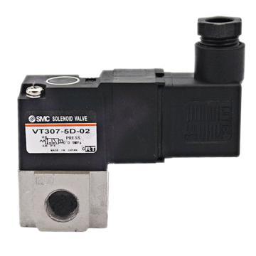 "SMC 3通电磁阀,直动式,DIN插座式(带插头),DC24,Rc1/8"",VT307-5D1-01"