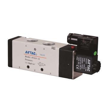 亚德客单控5通电磁阀,AC220V,4V410-15-A