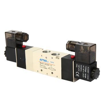 亚德客双控封闭型5通电磁阀,AC220V,4V330C-10-A