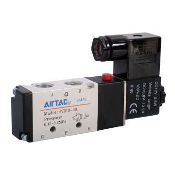 亚德客AirTAC 二位五通电磁阀,单电控,AC24V,NPT牙,4V210-08-E-T