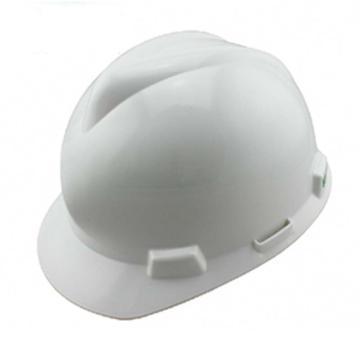 MSA V-Gard PE标准型安全帽,白,超爱戴帽衬,灰针织布吸汗带,涤纶顶带,D型下颏带,10172901