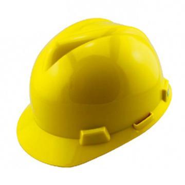 MSA V-Gard PE标准型安全帽,黄,超爱戴帽衬,灰针织布吸汗带,涤纶顶带,D型下颏带,10172902
