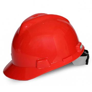 MSA V-Gard PE标准型安全帽,红,超爱戴帽衬,灰针织布吸汗带,涤纶顶带,D型下颏带,10172904