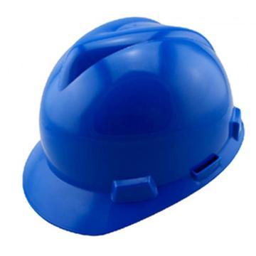 MSA V-Gard PE标准型安全帽,蓝,超爱戴帽衬,灰针织布吸汗带,涤纶顶带,D型下颏带,10172905
