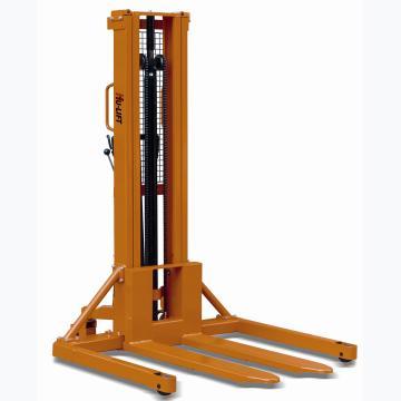 宽支腿手动液压堆高车,1T  2.85m 540×1150mm 黄色