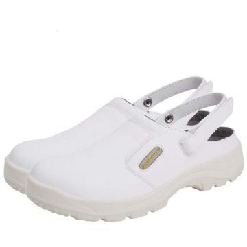 代尔塔 白色安全凉鞋,防砸防滑,36,301346