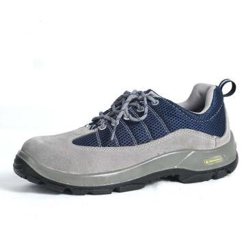 代尔塔 彩虹系列双钢安全鞋,防砸防刺穿防静电,灰蓝,38,301322