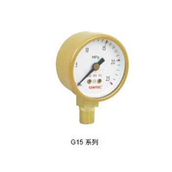"""捷锐减压器用压力表G15-030RL,1.5"""",30PSI/200KPA,1/8NPT,乙炔"""
