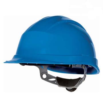 代尔塔DELTAPLUS 安全帽,102008-BL,抗紫外线安全帽 蓝 旋钮式(不含下额带)