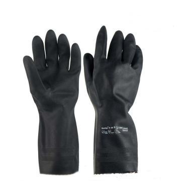 Ansell 87-950-9 100%天然橡胶手套,黑色