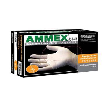 AMMEX一次性无粉掌麻乳胶手套,中号,100只/盒