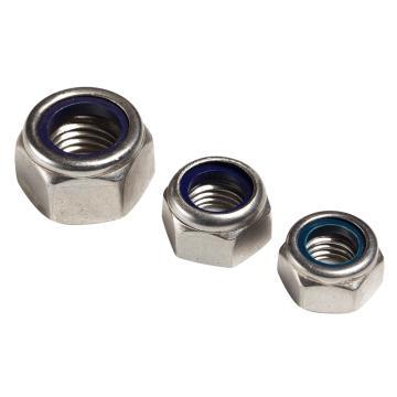 东明 DIN985六角防松蓝色尼龙圈锁紧螺母,M4-0.7,不锈钢316,强度A4-70,500个/包