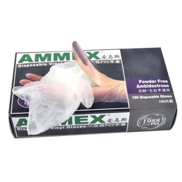 Ammex一次性医用PVC手套,无粉光面,L,100只/盒,10盒/箱