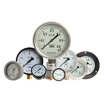 万达/WANDA 耐震压力表YJTFN,全不锈钢,径向不带边Φ100,精度1.6级,0~0.6MPa,NPT1/2,充硅油