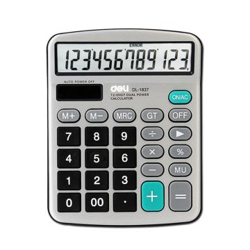 得力桌上型计算器,银灰色  1837