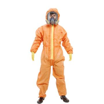 3M 4690 橙色带帽连体防护服,M