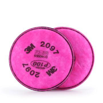 3M 2097 P100有机蒸汽异味颗粒物滤棉,2片/包