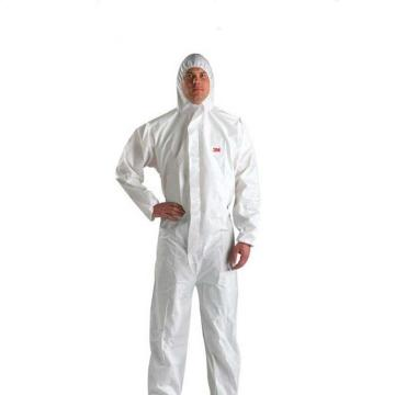 3M 4510 白色带帽连体防护服,L