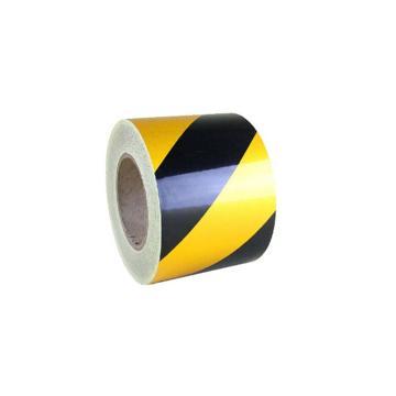安赛瑞 反光划线胶带,高性能反光自粘性材料,75mm×22m,黄/黑,14219