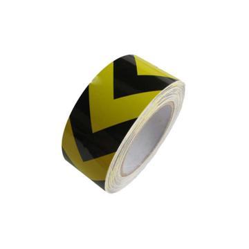 安赛瑞 反光划线胶带,高性能反光自粘性材料,50mm×22m,黄黑箭头,14349