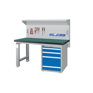 重量型工作桌,H800ⅹW1500ⅹD750,桌面材质:绿色耐冲击,桌板50mm厚平均承重1000KG,带挂板组棚板组等