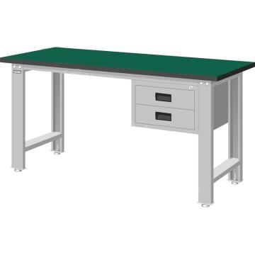 标准型工作桌,H800*W1500*D750,桌面材质:绿色耐冲击,桌板26mm厚平均承重500KG
