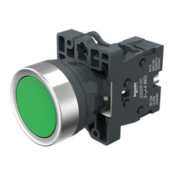 施耐德 平头自锁按钮,XA2EH031 绿色 1NO