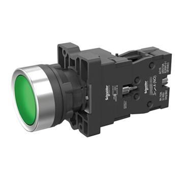 施耐德 平头带灯按钮,XA2EW33M1 220VAC 绿色 1NO