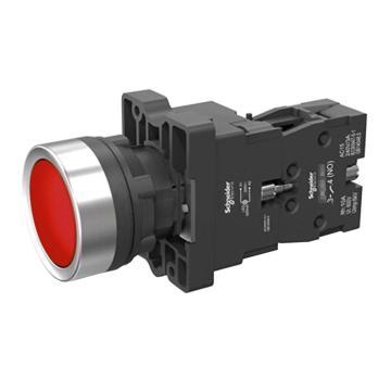 施耐德 平头带灯按钮,XA2EW34M1 220VAC 红色 1NO