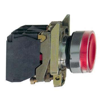 施耐德 带灯金属按钮,XB4BW34B5 红色 平头 1NO+1NC 24V(ZB4BW0B45+ZB4BW343)