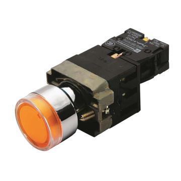 施耐德 带灯金属按钮,XB4BW35B5 黄色 平头 1NO+1NC 24V(ZB4BW0B55+ZB4BW353)