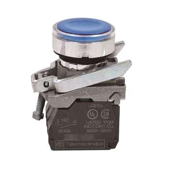 施耐德 带灯金属按钮,XB4BW36B5 蓝色 平头 1NO+1NC 24V(ZB4BW0B65+ZB4BW363)