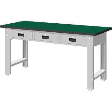 标准型工作桌,H800ⅹW1500ⅹD750,桌面材质:绿色耐冲击,桌板26mm厚平均承重500KG