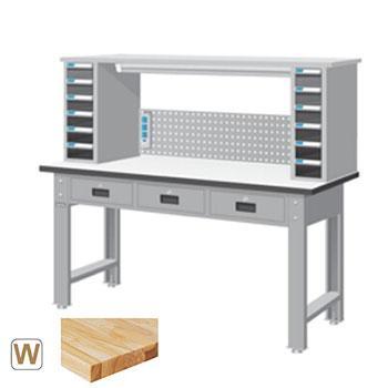 原木桌板标准工作桌,高H*宽W*深D:1365*1800*750,桌面载重(kg):500,WBT-6203W7