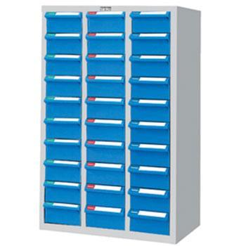 零件盒储存柜, H880×W600×D283  30个蓝盒 木箱包装