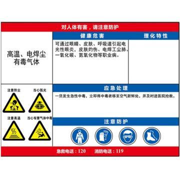 职业病危害告知卡(高温、电焊尘、有毒气体)-ABS板,600×450mm,14636