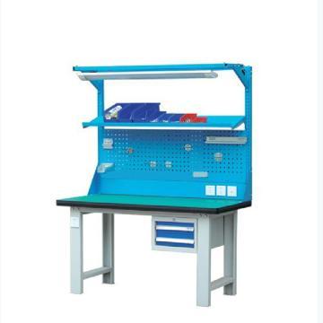 50mm复合桌面工作台, 含1块挂板+1个2抽柜+1块棚板 1800W*750D*(800+1000)H 载重:1000kg