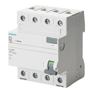 西门子SIEMENS 微型剩余电流保护断路器 5SV4 4P 40A 30mA A 5SV43440 单漏电保护