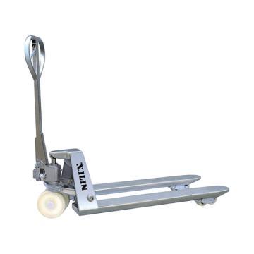 西林 不锈钢型手动液压搬运车,额定载荷(t):2.5,起升高度(mm):180/190,货叉外宽(mm):550,货叉长度(mm):1150
